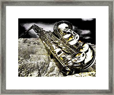 Simply Sax Framed Print by Jason Abando