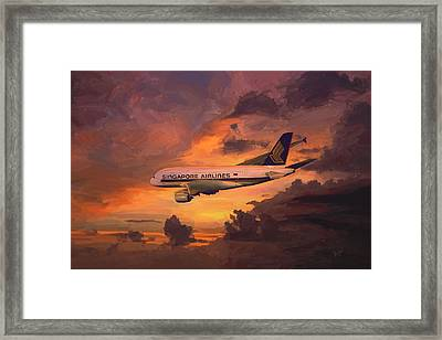 Framed Print featuring the painting Singapore Airlines A380 by Nop Briex