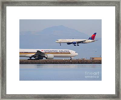 Singapore Airlines And Delta Airlines Jet Airplane At San Francisco International Airport Sfo Framed Print by Wingsdomain Art and Photography
