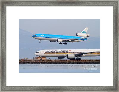 Singapore Airlines And Klm Airlines Jet Airplane At San Francisco International Airport Sfo 7d12153 Framed Print by Wingsdomain Art and Photography