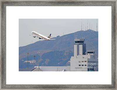 Singapore Airlines Jet Airplane Over The San Francisco International Airport Sfo Air Control Tower Framed Print by Wingsdomain Art and Photography