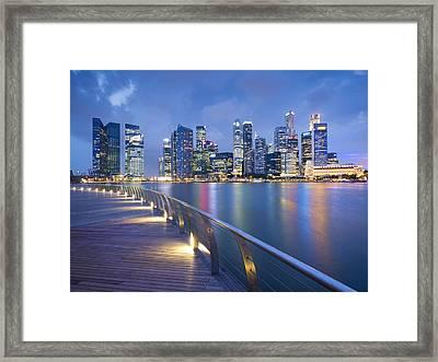 Singapore Skyline Seen Over Marina Bay Framed Print by Travelpix Ltd