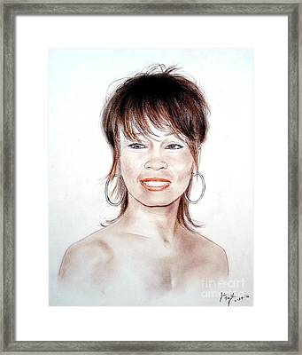 Framed Print featuring the drawing Singing Beauty Whitney Houston by Jim Fitzpatrick