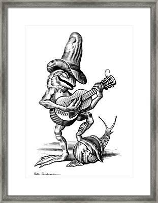 Singing Frog, Conceptual Artwork Framed Print