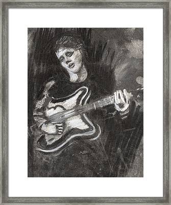 Framed Print featuring the drawing Singing Sad Songs by Denny Morreale