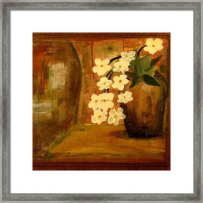 Framed Print featuring the painting Single Vase In Bloom by Kathy Sheeran