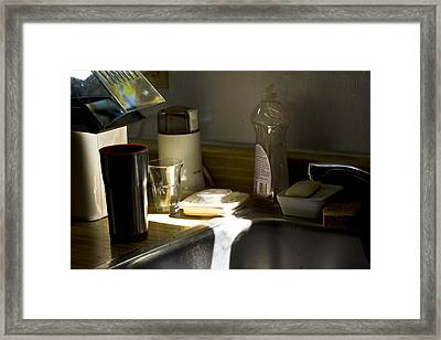 Sink After Roasting Coffee Framed Print by Larry Darnell