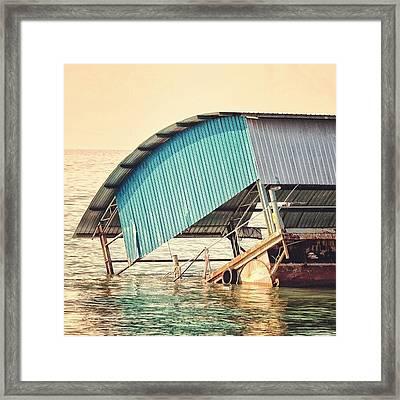 Sinking Houseboat, Lumut, Malaysia Framed Print