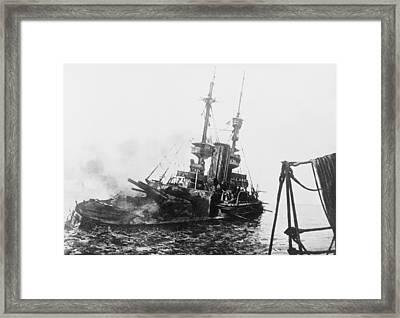 Sinking Of British Ship - Irresistible Framed Print