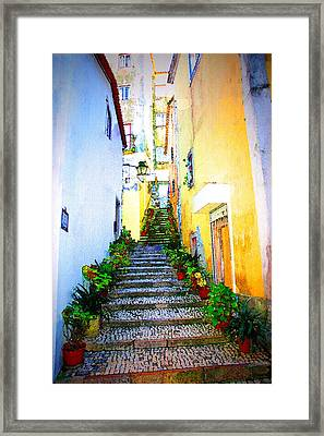 Sintra Portugal Stairs Framed Print by Michael Dantuono