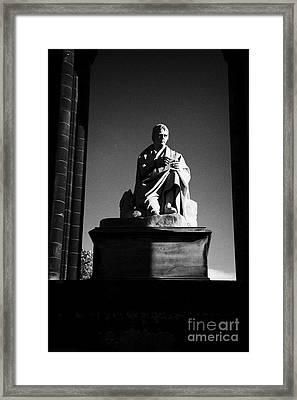 Sir Walter Scott Statue Inside The Monument On Princes Street Edinburgh Scotland Uk United Kingdom Framed Print by Joe Fox