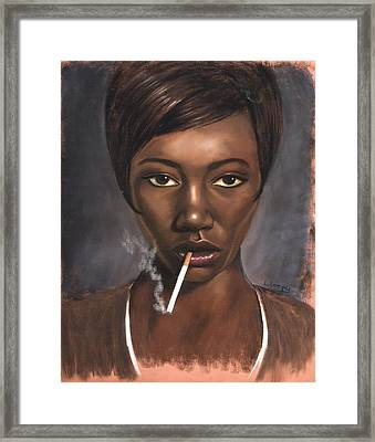 Sister With Cigarette Framed Print by L Cooper