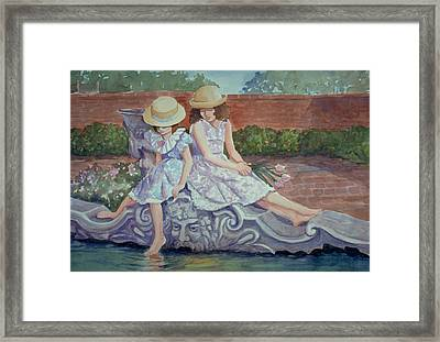 Sisters At The Fountain Framed Print
