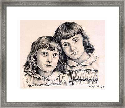 Sisters Framed Print by Carmen Del Valle
