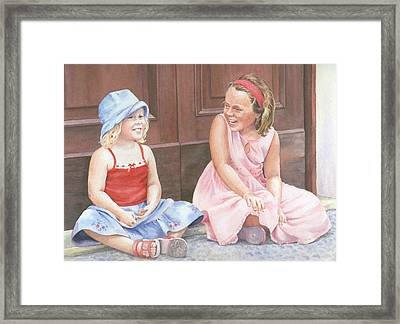 Sisters On Holiday Framed Print by Maureen Carter