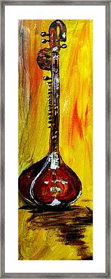 Framed Print featuring the painting Sitar 1 by Amanda Dinan