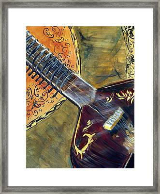 Framed Print featuring the painting Sitar 2 by Amanda Dinan