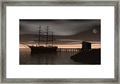 Framed Print featuring the digital art Sitting At The Dock Of The Bay by Walter Colvin