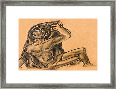 Sitting Human Charcoal Drawing  Framed Print by Odon Czintos