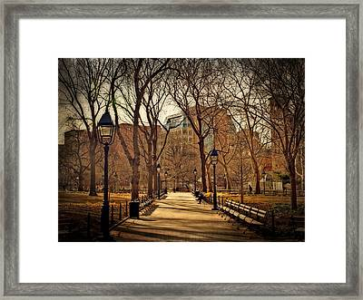 Sitting In The Park Framed Print by Kathy Jennings