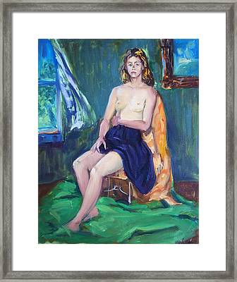 Sitting Nude Framed Print by Bill Joseph  Markowski