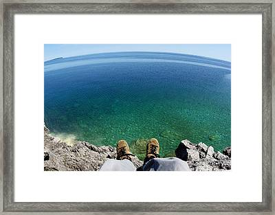 Sitting On A Cliff Framed Print by Cale Best