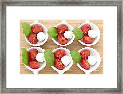 Six Caprese Appetizers Framed Print