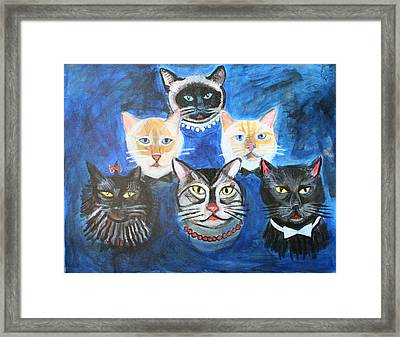 Six Cats Framed Print by Cheryl Scribner