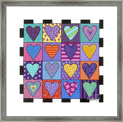 Framed Print featuring the painting Sixteen Hearts by Carla Bank