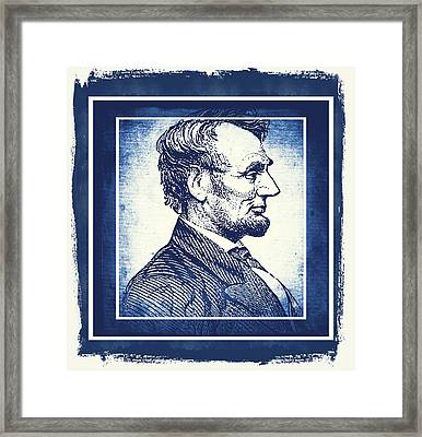 Sixteenth President Blue Framed Print by Angelina Vick