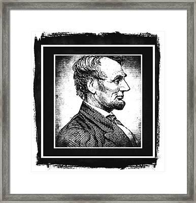 Sixteenth President Bw Framed Print