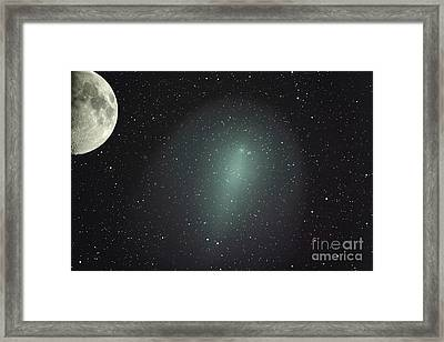 Size Of Comet Holmes In Comparison Framed Print by Rolf Geissinger