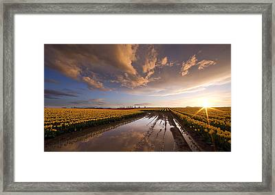 Skagit Sunset Reflected Framed Print by Mike Reid