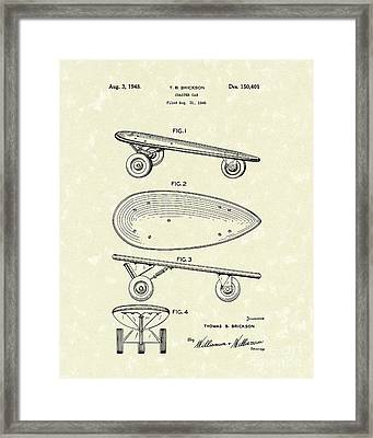 Skateboard Coaster Car 1948 Patent Art  Framed Print by Prior Art Design