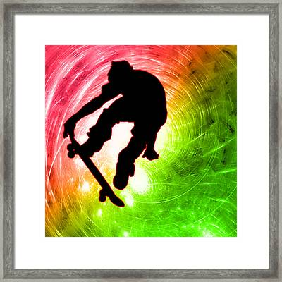 Skateboarder In A Psychedelic Cyclone Framed Print by Elaine Plesser