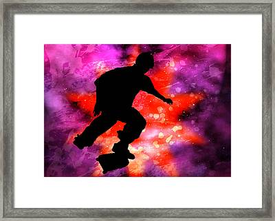 Skateboarder In Cosmic Clouds Framed Print by Elaine Plesser