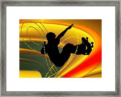 Skateboarding In The Bowl Silhouette Framed Print