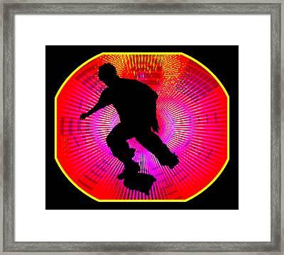 Skateboarding On Fluorescent Starburst Framed Print