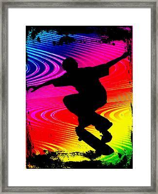 Skateboarding On Rainbow Grunge Background Framed Print by Elaine Plesser
