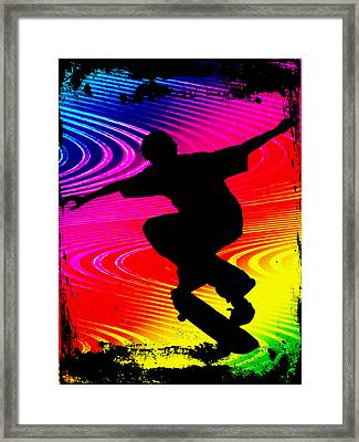 Skateboarding On Rainbow Grunge Background Framed Print