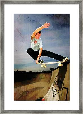 Skateboarding The Wall  Framed Print