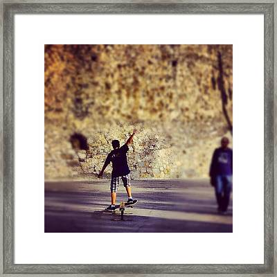 Skateboarding Framed Print by Tommy Tjahjono