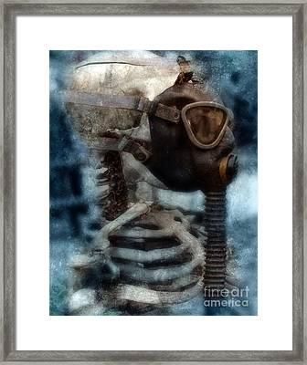 Skeleton In Gas Mask Framed Print by Jill Battaglia