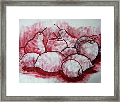 Sketch - Tasty Fruits Framed Print by Kamil Swiatek
