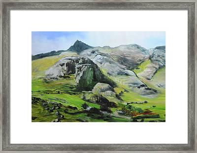 Sketch Of Mountains In Snowdonia Framed Print