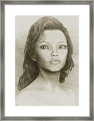 Framed Print featuring the digital art Sketched Portrait by Maynard Ellis