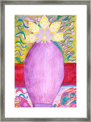 Sketched Vase With Imagined Flowers Framed Print by Anne-Elizabeth Whiteway