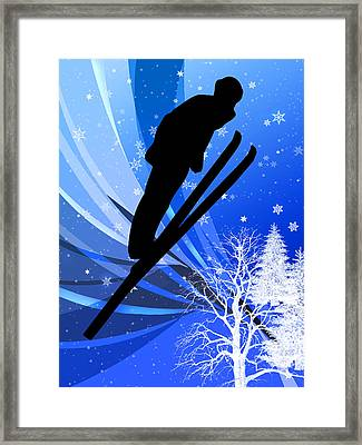 Ski Jumping In The Snow Framed Print by Elaine Plesser