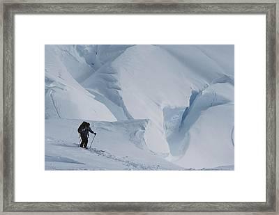 Ski Mountaineer Tom Day Above Big Framed Print by Gordon Wiltsie