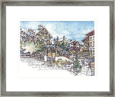 Ski Village Framed Print by Andrew Drozdowicz